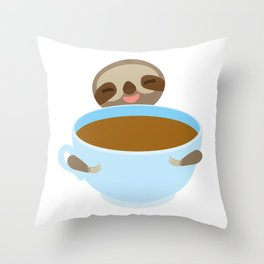 sloth & coffee Throw Pillow