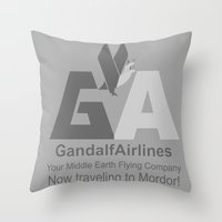 gandalf Throw Pillows featuring Gandalf Airlines by Faniseto