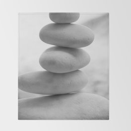 Zen beach rocks print, balancing rocks, mnimalist Beach decor, wall art Throw Blanket