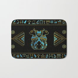 Egyptian Cats Gold and blue stained glass Bath Mat