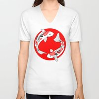 japanese V-neck T-shirts featuring Japanese Kois by Art & Be