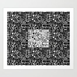 Rectangles and Elipses in BnW (2018) Art Print