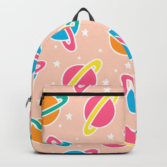 Space Planets Pattern in Pink Backpack