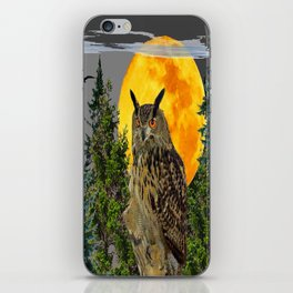 OWL WITH FULL MOON & PINE TREES GREY ART iPhone Skin