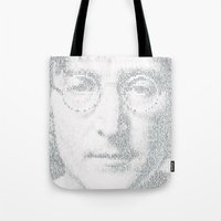 imagine Tote Bags featuring Imagine by Robotic Ewe