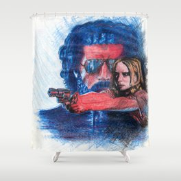 'Rush' film poster - Drawing in colour pencil Shower Curtain