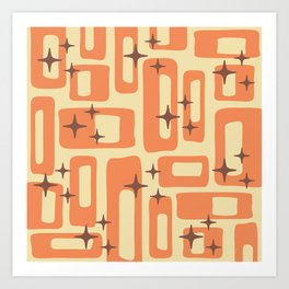 Retro Mid Century Modern Abstract Pattern 577 Orange Brown Art Print