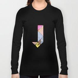 Collaged Tangram Alphabet - J Long Sleeve T-shirt