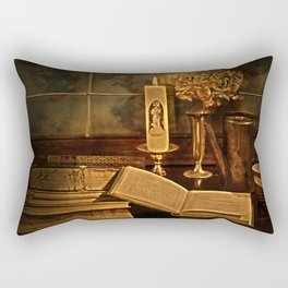 Old books and candle Rectangular Pillow