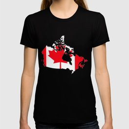 Canada Map with Canadian Flag T-shirt