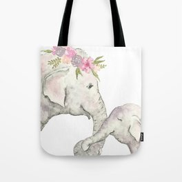 Elephant Mother and Baby Watercolor Tote Bag