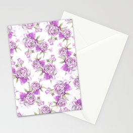 Elegant lavender lilac pink hand painted watercolor peonies Stationery Cards