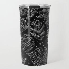 Silver Metal Embossed Leaf Pattern Travel Mug