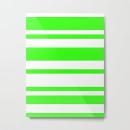 Mixed Horizontal Stripes - White and Neon Green Metal Print