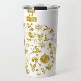 Golden Shimmering Christmas Ornament Bauble Travel Mug