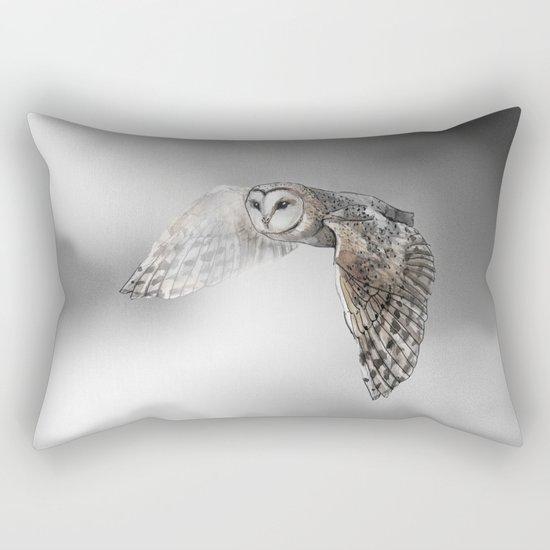 flying owl (tyto alba) Rectangular Pillow
