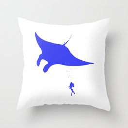 Dive Underwater Manta Ray Gift Idea Throw Pillow