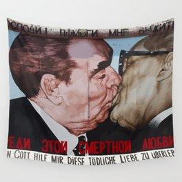 Socialist kiss on Berlin wall Wall Tapestry