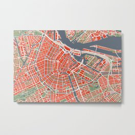 Amsterdam city map classic Metal Print