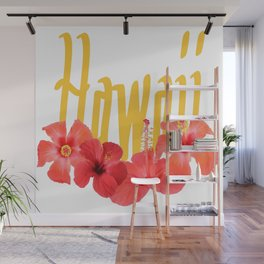 Hawaii Text With Aloha Hibiscus Garland Wall Mural