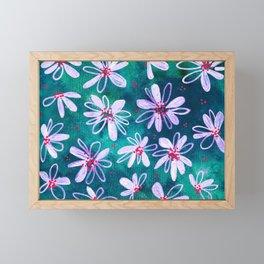 Daisy Flowers | Whimsical Watercolor Daisies on Cyan BlueTeal Framed Mini Art Print