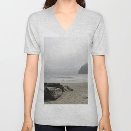 Haystack Rock At Cannon Beach Unisex V-Neck