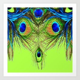 CHARTREUSE BLUE-GREEN PEACOCK FEATHERS ART PATTERNS Art Print