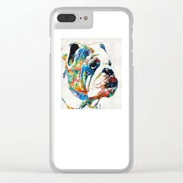 Bulldog Pop Art - How Bout A Kiss - By Sharon Cummings Clear iPhone Case
