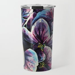 purple flowers watercolor art Travel Mug