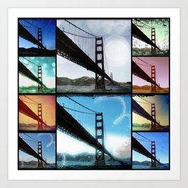 Golden Gate Bridge colorful Photo Collage Art Print