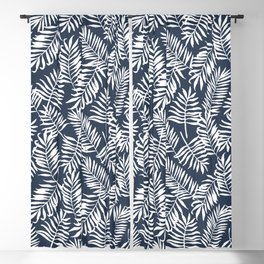 Tropical Palm Leaves - Palm Leaf Pattern - Navy Blue Blackout Curtain