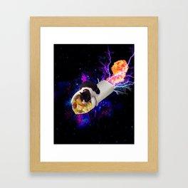 Breakfast Burrito Space Cat Framed Art Print