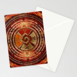 Hunab Ku Mayan symbol Burnt Orange and Gold Stationery Cards