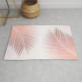 Palm leaf synchronicity - rose gold Rug