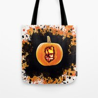 groot Tote Bags featuring Groot pumpkin  by grapeloverarts