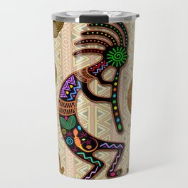 Kokopelli Rainbow Colors on Tribal Pattern  Travel Mug