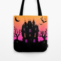 haunted mansion Tote Bags featuring Haunted Silhouette Rainbow Mansion by rainbowdreams