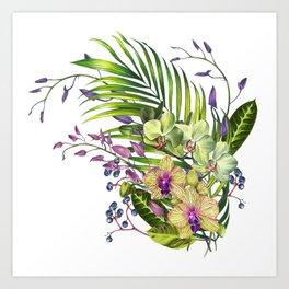 Bouquet, Orchid, Bud, Leaf Clipart, watercolor, handpainted, floral, flower, design, style, troical Art Print