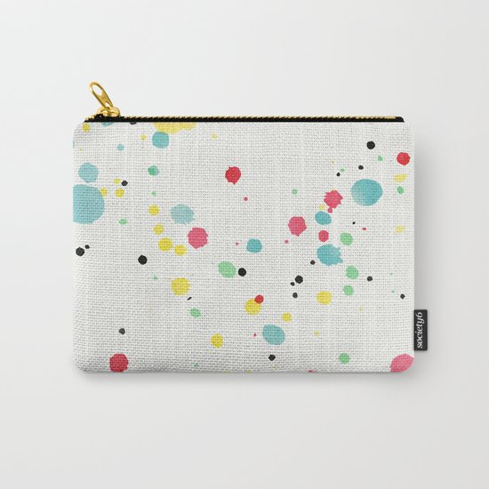 Watercolor splatters on white leather Carry-All Pouch
