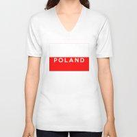 poland V-neck T-shirts featuring Poland country flag name text by tony tudor