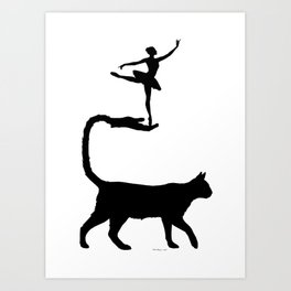 Cat Hand Tail & Ballerina Silhouette Art Print