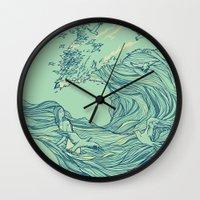 huebucket Wall Clocks featuring Ocean Breath by Huebucket