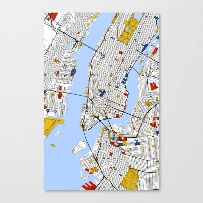 Street Map Of New York City.New York City Map Art Print Street Map Art Canvas Print By