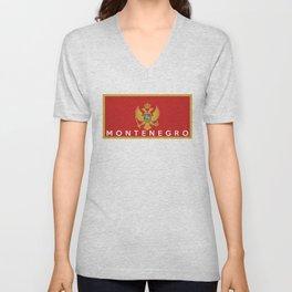 Montenegro country flag name text Unisex V-Neck