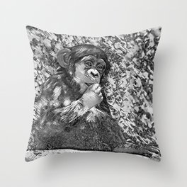 AnimalArtBW_Chimpanzee_20170605_by_JAMColorsSpecial Throw Pillow