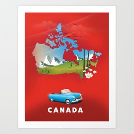Canada illustrated travel poster. Art Print