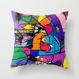 Abstract Street Art Bus Stop Pattern Texture in Bologna Throw Pillow