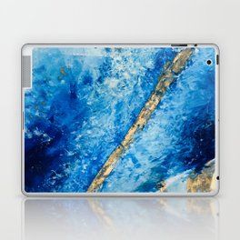 Blue Skies [2]: a pretty, abstract mixed-media piece in blue, gold and white Laptop & iPad Skin