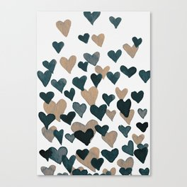 Valentine's Day Watercolor Hearts - neutral Canvas Print