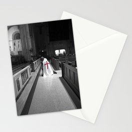 Black and White Kneeling Templar Red Cross Stationery Cards